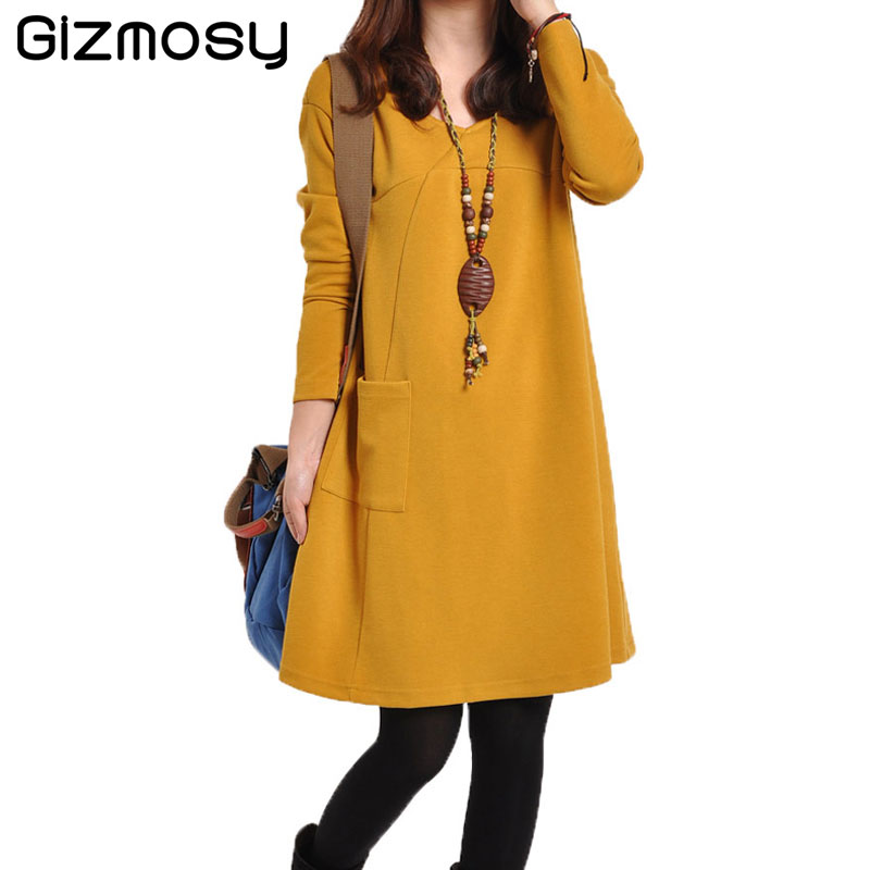 New 1pc Warm V-neck Dress 2019 Autumn Winter Mini Dress A-line Long Sleeve Dresses for Women Solid Loose Bottom Dress SY2164