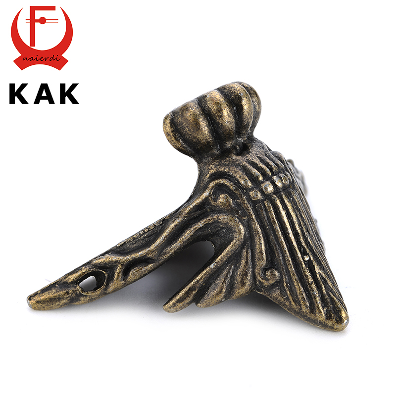 4PCS KAK 40x30mm Antique Wood Box Feet Leg Corner Protector Triangle Rattan Carved Decorative Bracket For Furniture Hardware dongyang woodcarving camphor wood furniture wood carved camphorwood box suitcase box antique calligraphy collection box insect d