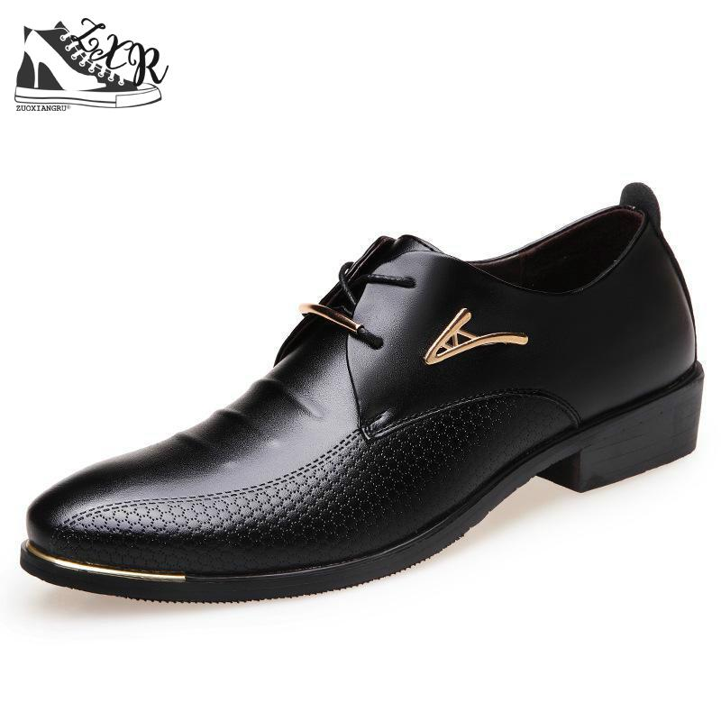 2017 New Fashion Formal Mens Dress Shoes Pu Leather Black Wedding - Men's Shoes
