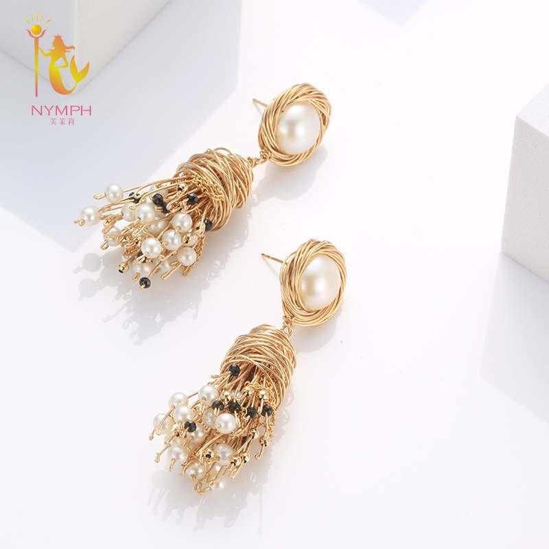 [NYMPH] Fine Jewelry Long Tassel Pearl Earrings Natural Big Baroque Pearl Drop Earrings For Women Party E331 yancey original design baroque pearl long tassel star luxurious big drop earrings 9k gold inlay the style of the goddess
