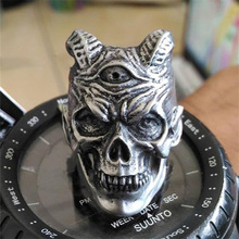 Horned Vampire Devil Skull Rings Mens Punk Rock 316L Stainless Steel Ring Biker Men Jewelry wholesale high quality mens punk 316l stainless steel pentagram star rings for men biker finger rings rock jewelry us size 9 12