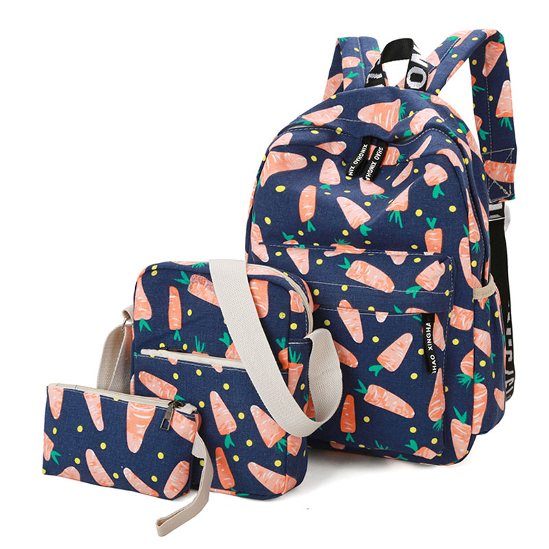3PCS/Lot School Bags Set For Children Canvas Girl's Satchel Bag Cartoon Carrot Design Composite School Bag