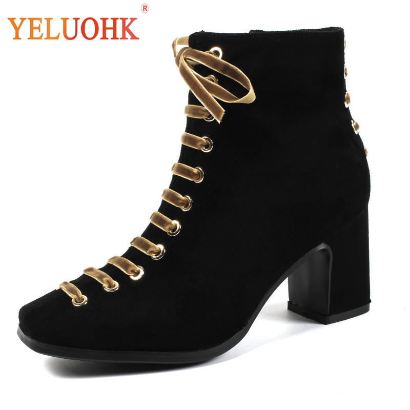 34-42 Natural Suede Women Winter Shoes Heel 7 CM Women Winter Boots Plush Warm Ankle Boots For Women Black xiangxue warm and fuzzy black suede flat boots for winter 2018 chelsea boots for women