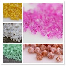 "4*6MM 50Pcs/Pack Mixed 5 Colors "" Wax apple flower "" Czech Glass Crystal Bead Jewelry Loose Beads"
