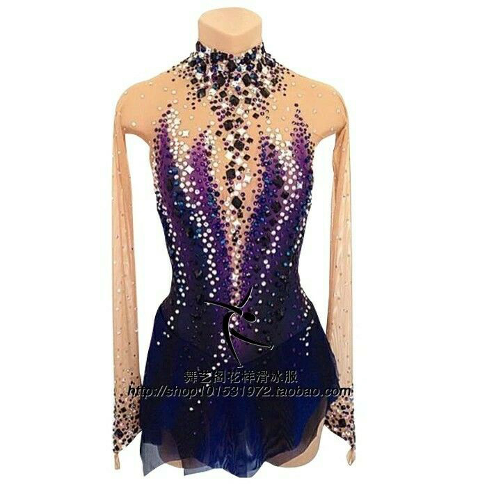 Free ShippingPurpleIce Figure Skating Dress RG Rhythmic Gymnastics Leotard Acro Baton Twirling TapSD509