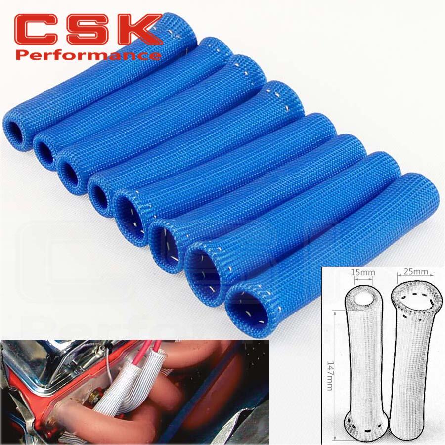 Blue Spark Plug Wire Boot Heat Shield Insulator 8-Pcs