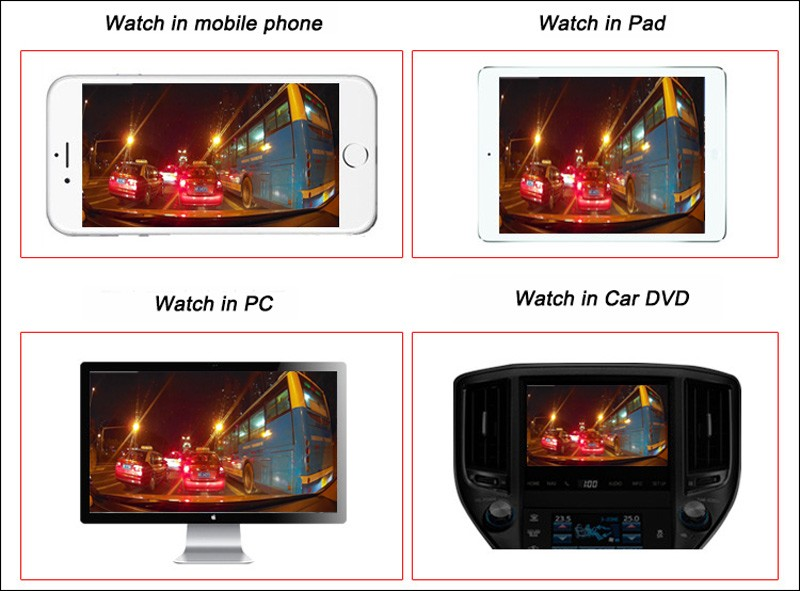 black box rear front mirror dvr Full HD 1080P Registrator Recorder Cycle Recording (10)