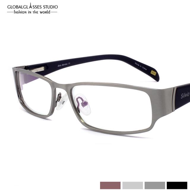 Classic Gafas Negro/Marrón/Gris/Plateado Cuatro colores del Lleno-borde Marcos Ópticos de Acero Inoxidable Con primavera Bisagra SM4015
