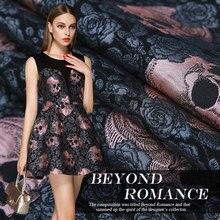 145*100cm de alta qualidade alta precisão fio-tingido jacquard moda tecido victor rosa crânio dupla camada tridimensional vestido clo