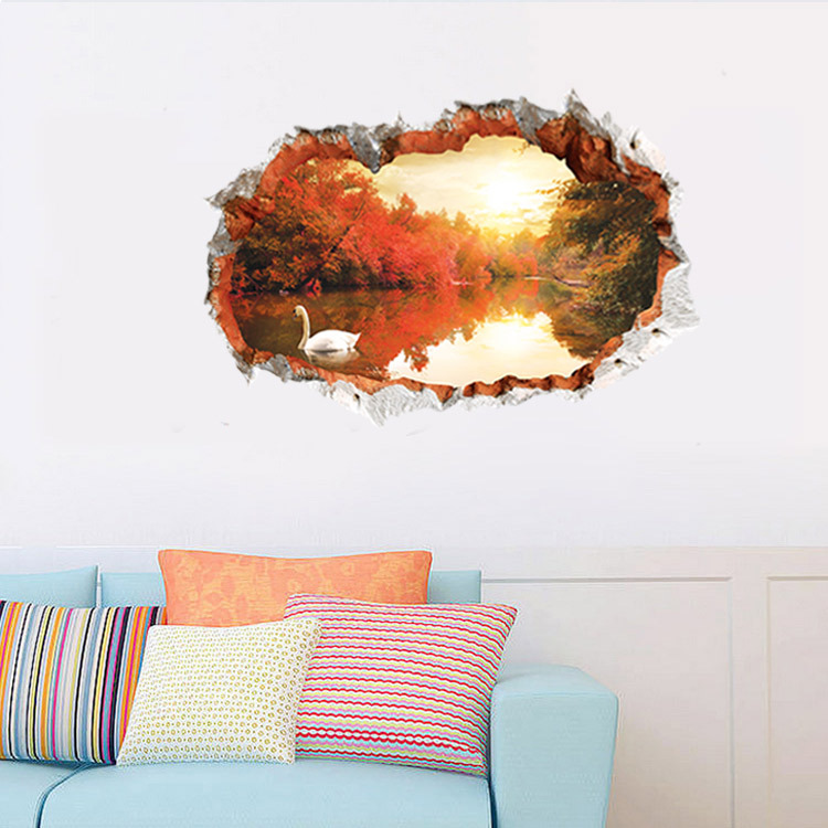 Aw3022B e wall stickers, leaves fashion creative 3D stereo effect wall sticker wall painting