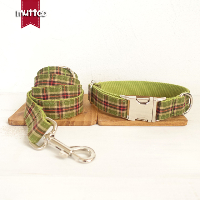 100pcs/lot MUTTCO wholesale self-design personalized handmade dog accessories THE GREEN PLAID 5sizes dog collars and leashes set