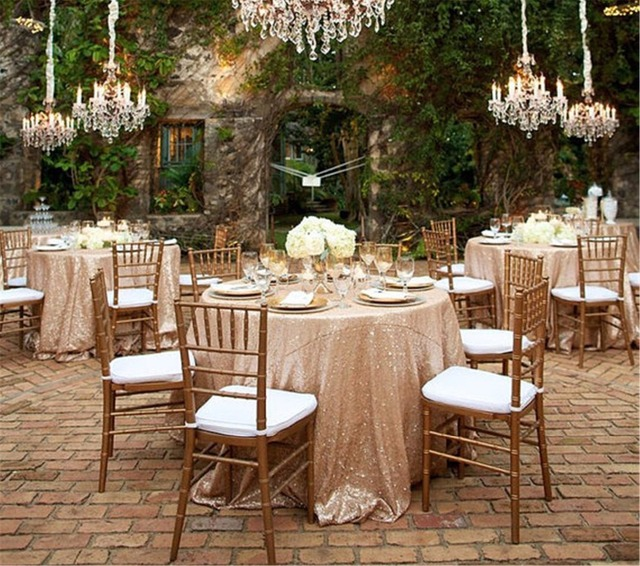 Factory Direct Wholesale 10PCS Wedding Decorative Glitter Champagne Sequin  Tablecloth 132 Round Sequin Table Cloth Table