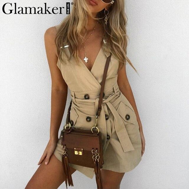 Glamaker Office lady v neck vintage sexy dress Women party backless black summer elegant dress Casual lace up short club dress