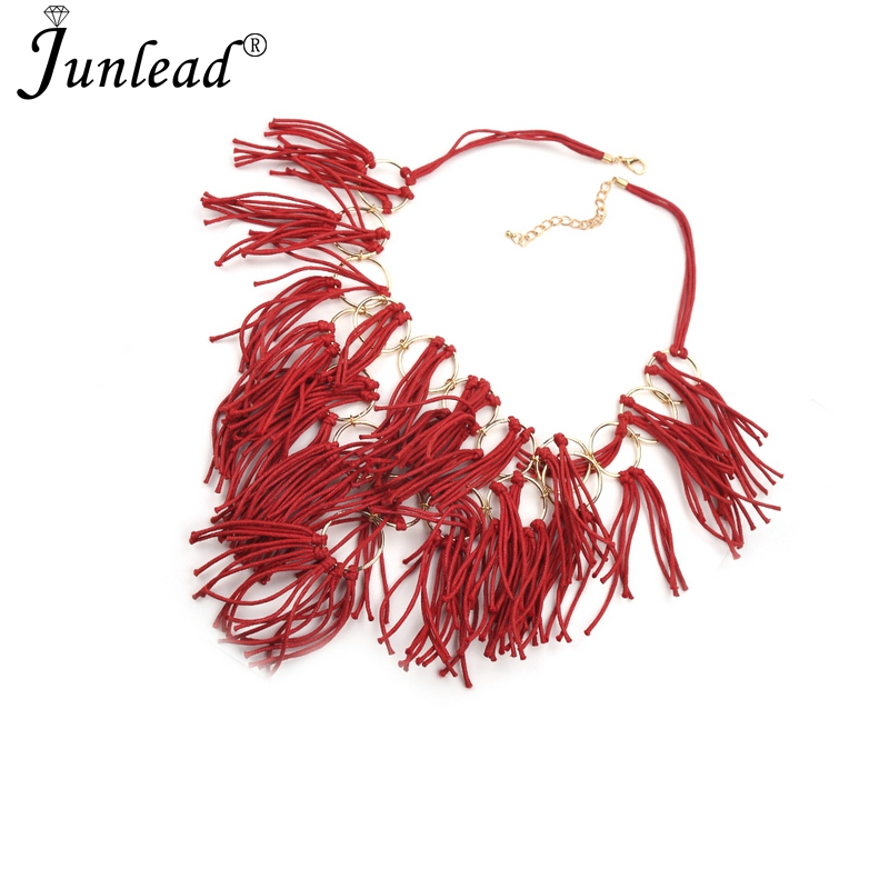 Junlead Chunky Pretty Vintage Statement Fashion Rope Necklace Alloy PU Tassel Bar String Custom Charm Necklace For Lady Jewelry