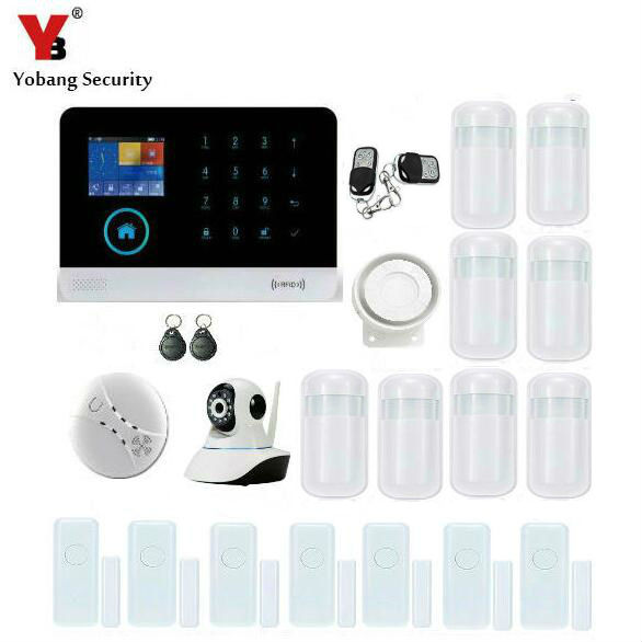 YobangSecurity Wireless Wifi RFID GSM SMS ANDROID IOS APP Home Burglar Security Alarm System Video IP Camera Smoke Fire Sensor 16 ports 3g sms modem bulk sms sending 3g modem pool sim5360 new module bulk sms sending device