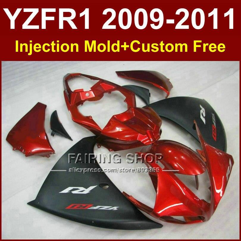 Литья под давлением мотоцикл части для YAMAHA обтекатели и YZF-R1 и YZF Р1 09 10 11 12 2009 2010 2011 красный черный кузова YZF1000 +7gifts запросу