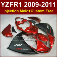 Injection mold Motorcycle parts for YAMAHA fairings YZF R1 09 10 11 12 YZF R1 2009 2010 2011 red black bodywork YZF1000 +7Gifts