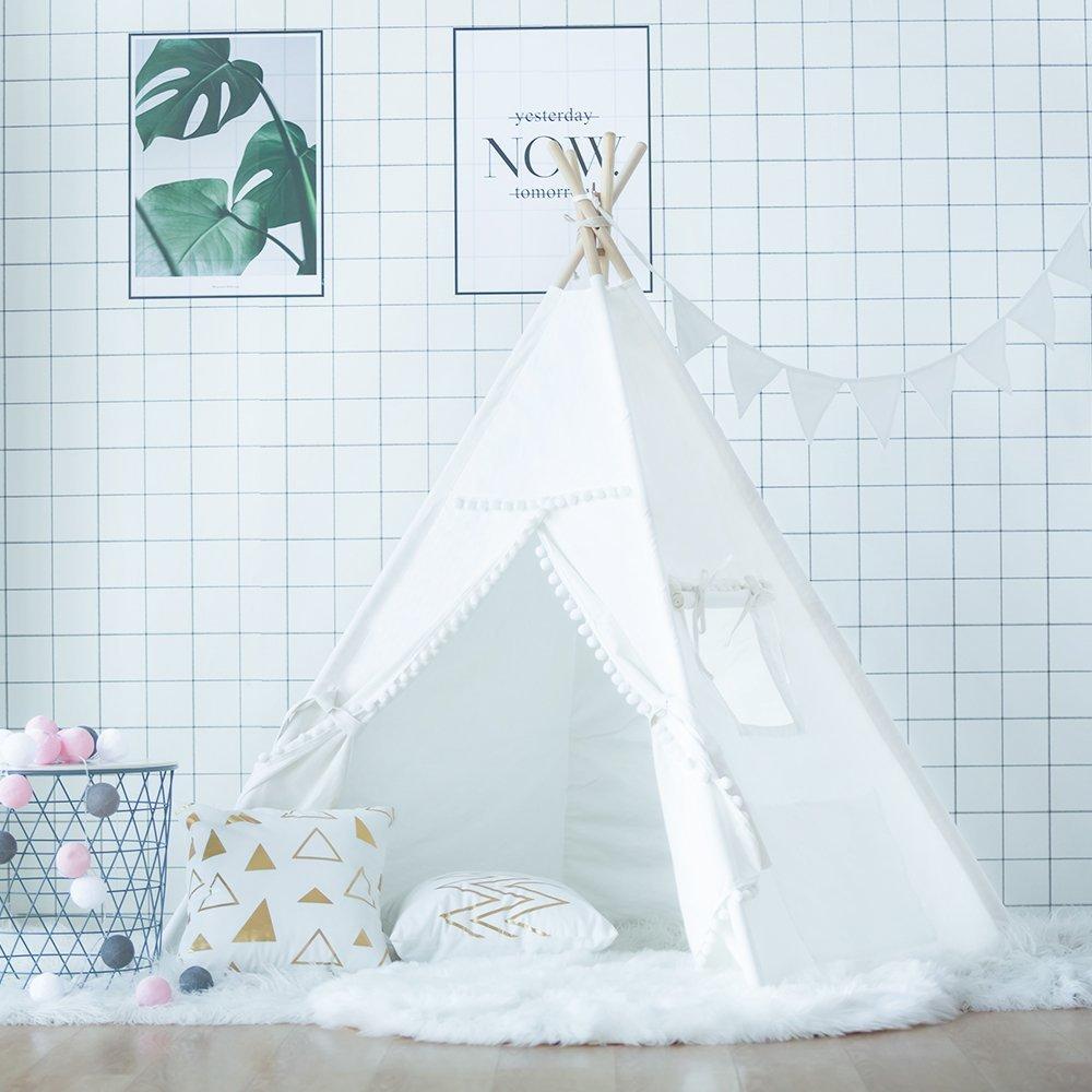 все цены на New Plain White Pompom Kids Teepee Play Tent Childrens Tipi Tent