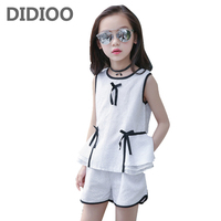 Kids Clothing Sets for Girls Summer Sleeveless Shirts & Shorts Suits Children Elegant Outfits 4 8 10 12 Years Girls Clothes Sets