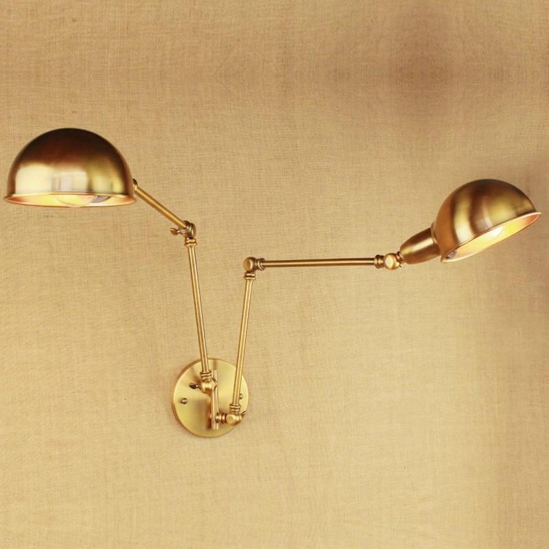 2 Hoofd Luxe Vintage Goud Swing Arm Edison Wandlamp E27 Ac 110 V 220 V Led Verstelbare Metalen Muur Verlichtingsarmaturen Voor Slaapkamer Kleuren Zijn Opvallend