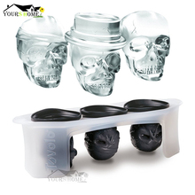 Skull Ice Molds Cocktails (Set of 3) Halloween Party Spooky Fun Bar Tool Accessories