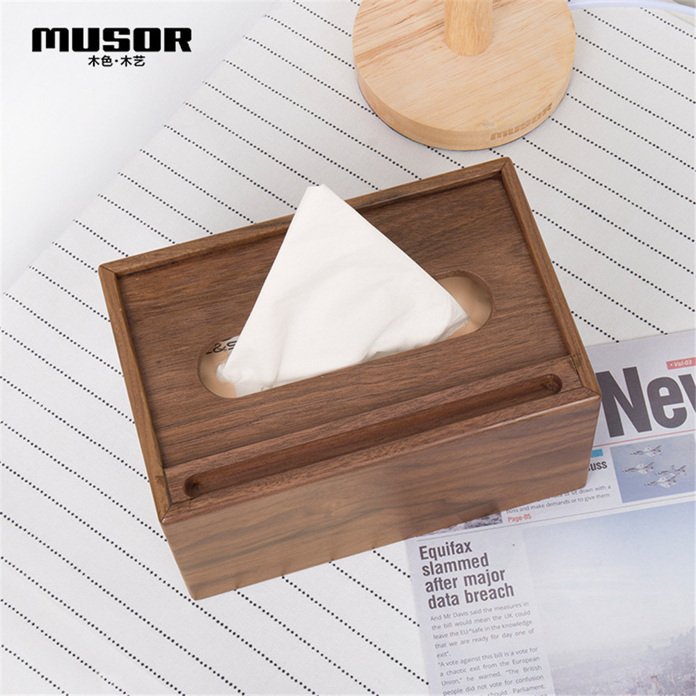 Image 2 - Wooden multi function tissue box walnut storage box hotel tray creative living room decoration mobile phone holder-in Tissue Boxes from Home & Garden