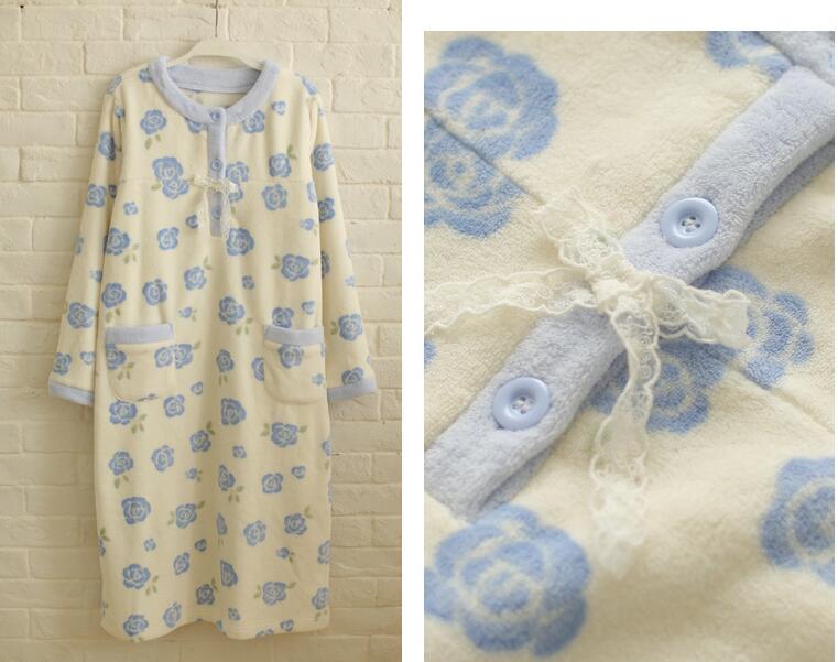 Pajamas women sweet and pure and fresh coral fleece winter sleep long sleeve skirt lady winter