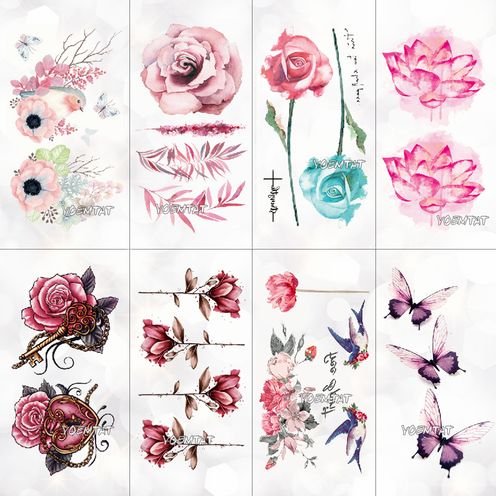 Lotus FLower Temporary Tattoo Colorful Feather Leaf Fake Black Waterproof Tattoo Sticker For Girl Kids Art