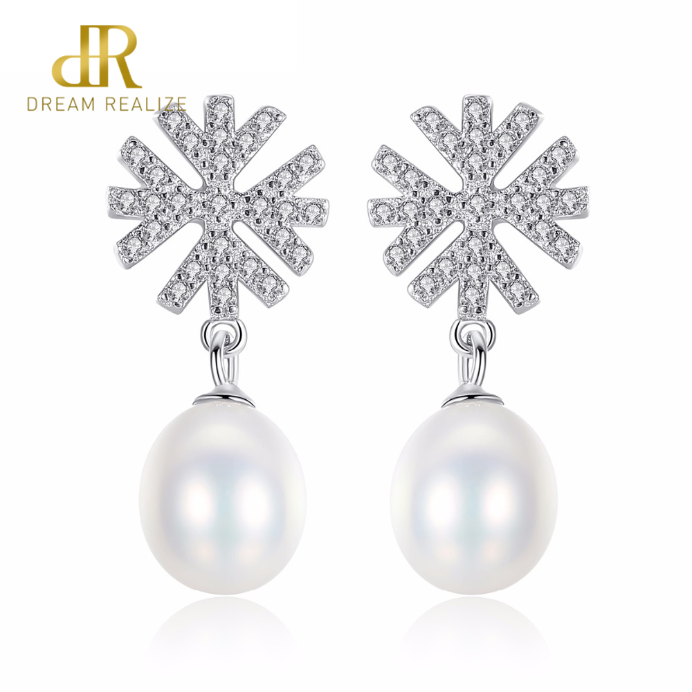 DR Brand 100% 925 Sterling Silver Romantic Snowflake Pearl Stud Earrings for Women Wedding Jewelry Accessories for Girls Gift
