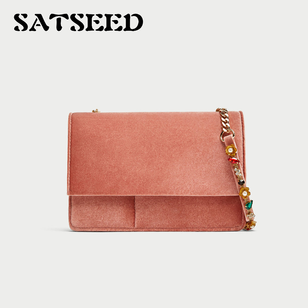 Pink Beaded Chain Package Velvet New Autumn and Winter lipt 2018 mini package bag chain bag small package of the new spring and summer leisure package free shipping