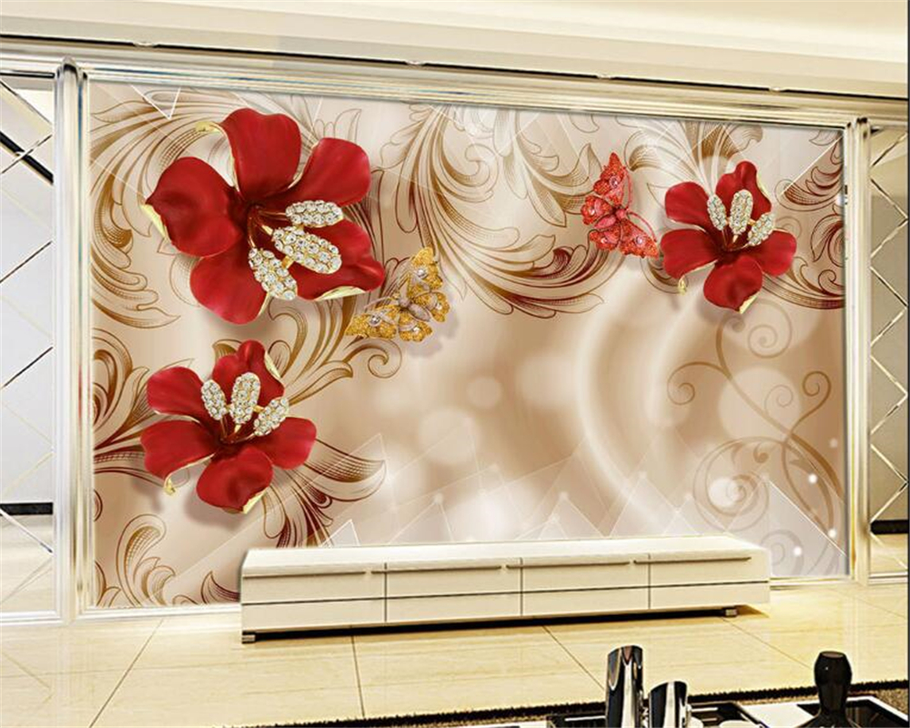 beibehang Custom fashion silk cloth wall paper 3D European gold jewelry flower TV background wall papel de parede 3d wallpaper beibehang custom photo wallpaper mural 3d stereo jewelry flower twig tv background wall papel de parede 3d wall papers home deco
