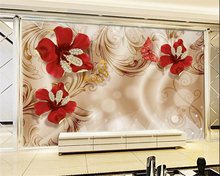 beibehang Custom fashion silk cloth wall paper 3D European gold jewelry flower TV background wall papel de parede 3d wallpaper beibehang wall paper high fashion silk silhouette wallpaper vast coast beach stone tree interior 3d wallpaper papel de parede