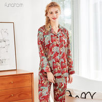 Spring Leopard Printing Pattern Women Pajama Set Rayon Sleepwear Long Sleeve Trousers Two Paper Suit