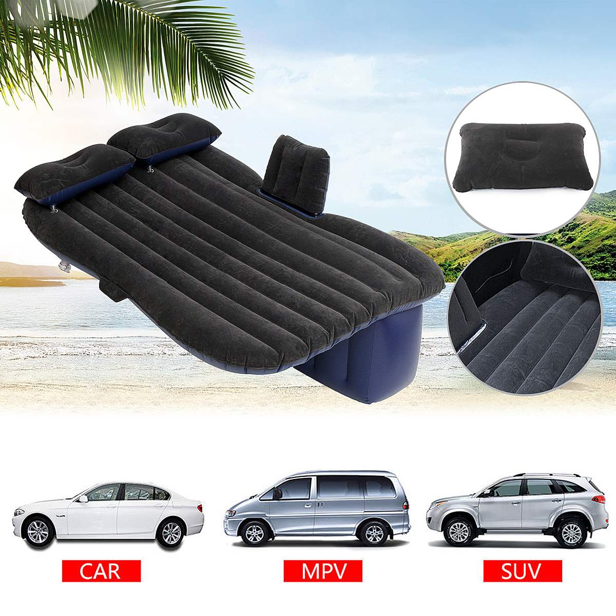 Flocking Cloth Car Back Seat Cover Air Mattress Travel Bed Inflatable Mattress Air Bed Inflatable Bed Travel kit Camping Mat car inflatable mattress car shock bed on board flocking inflatable bed separate type air cushion bed car split car bed