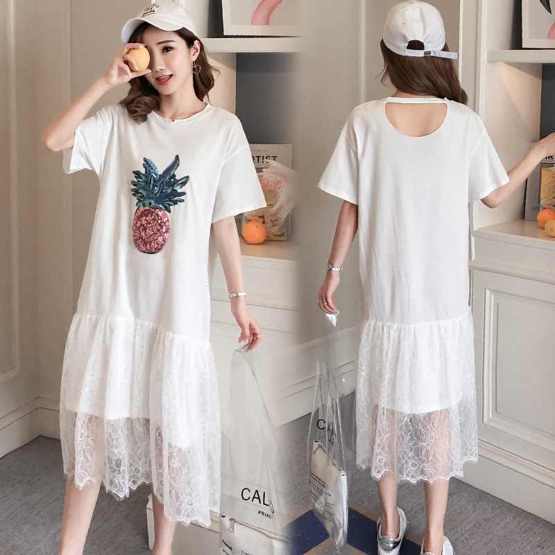 2018 Short Sleeve Long Summer Lace Dress Chiffon Printing Pinapple White Blue O Neck Maternity Pregnancy Clothes Gravida Dresses