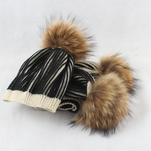 Image 5 - Gorro de invierno 2019 para niño y niña, gorro con pompón y bufanda grande de piel Real para niños, gorro tejido cálido para invierno