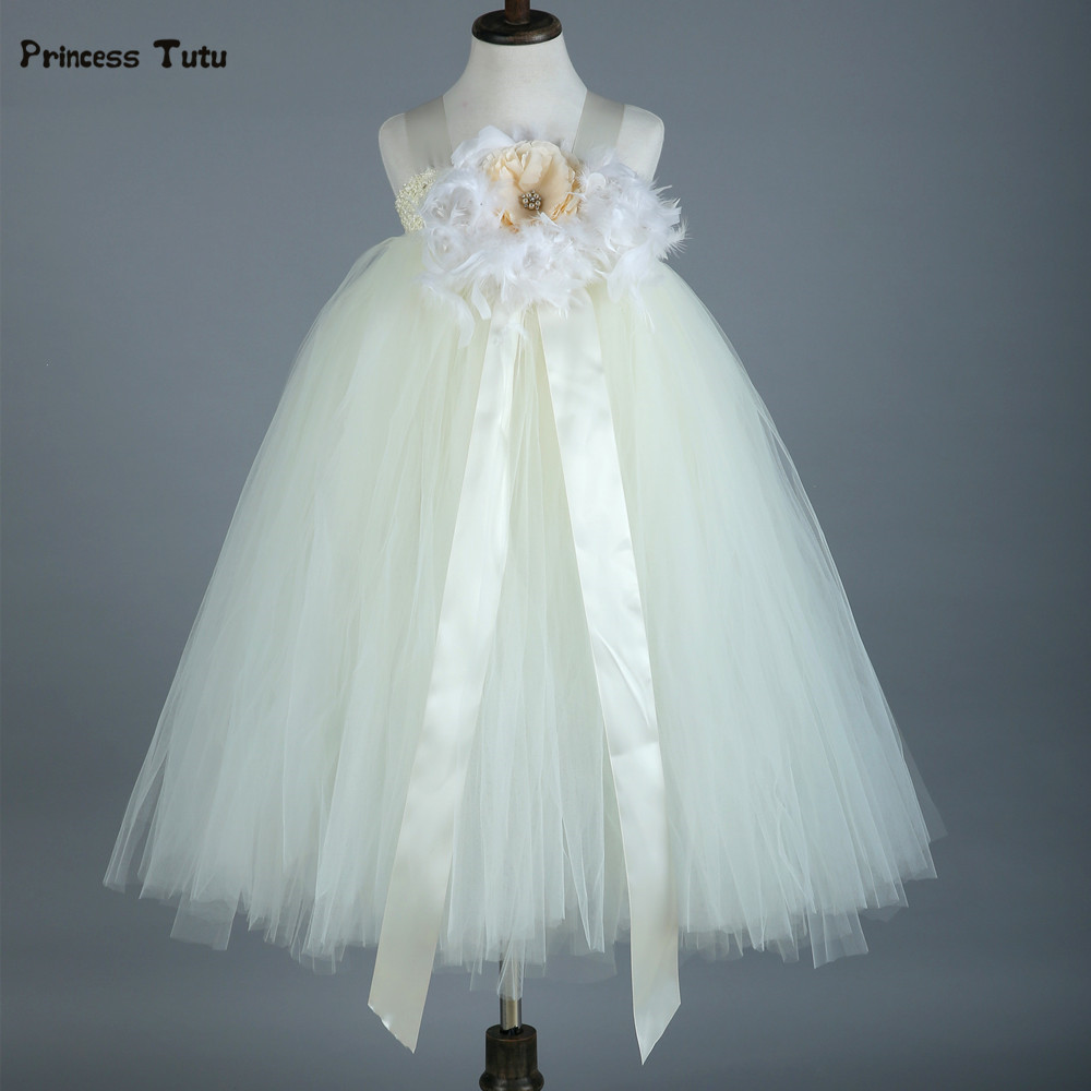 Feathers Flower Girl Dresses Baby Girl Tutu Dress Tulle Princess Dress Ball Gowns Kids Wedding Birthday Bridesmaid Party Dress рубашка armani jeans 6x6c24 6n0xz 2513
