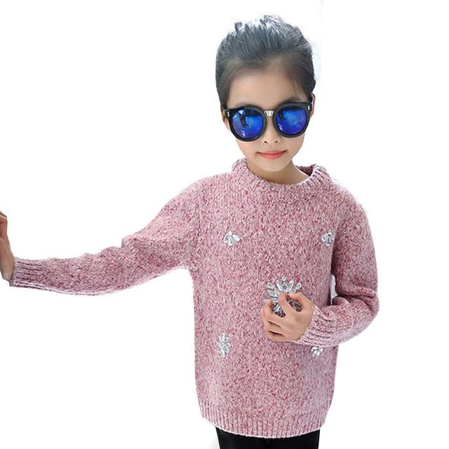 2017 Moda Primavera Gola Redonda Menina Roupas Meninas Pérola flor Camisola de Malha Pulôveres Crianças Roupas Camisola