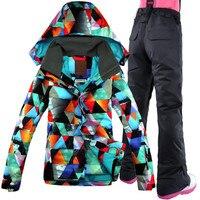 GSOU SNOW Women Ski Jacket Pant Windproof Waterproof Outdoor Sport Wear Snowboard Suit Female Winter Clothing Skiing Coat Suit