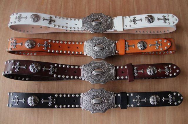4 cores Vintagge 2016 Homem Punk ROCK BALA de couro geniune cintura rebite Cinto de slides De Metal cowboy fivela de cinto nova marca BT003