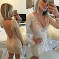 Champagne V Neck Long Sleeve Open Back Lace Sheath Column Mini Homecming Dress With Pearls 2017 New