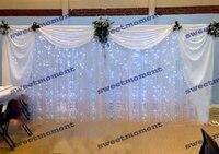 3x6 м Sheer Свадебные занавес с драпировкой и светодиодные curtainwedding фон с Swag шифон фон белого цвета свадебные украшения