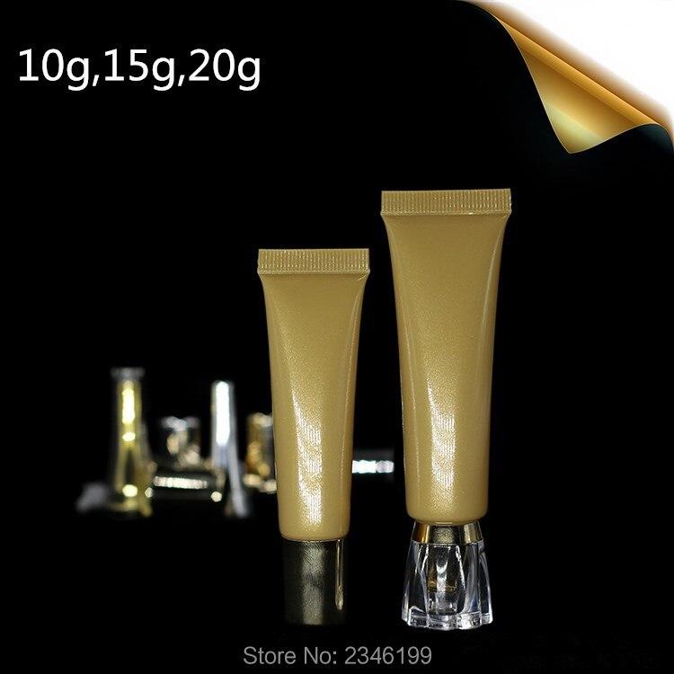 10 ML/15 ML/20 ML 100 sztuk/partia, złoty miękka tubka kosmetyczna BB CC pojemnik krem pod oczy krem do rąk Essence maść puste tuba do pakowania w Butelki wielokrotnego użytku od Uroda i zdrowie na  Grupa 1
