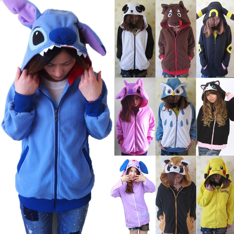 Women 3D Cartoon Animal Hoodies Costume Totoro Men Pokemon Pikachu With Ears Face Eyes Sweatshirt Jacket Hoodies With Zip Hood
