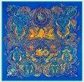 2016 mujeres de la bufanda de seda 130 * 130 cm mujer cuadrado grande flower100 % bufanda de seda twill marca seda de la impresión chales bufandas wraps pashminas
