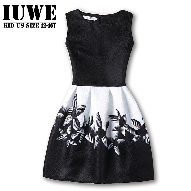 Kids Dresses for Girls 2017 Girls Dresses in Black and White Floral Print Dress Bow Sleeveless Tutu Teenagers Girls Clothing 12 kids dresses for girls 2017 girls dresses in black and white floral print dress bow sleeveless tutu teenagers girls clothing 12