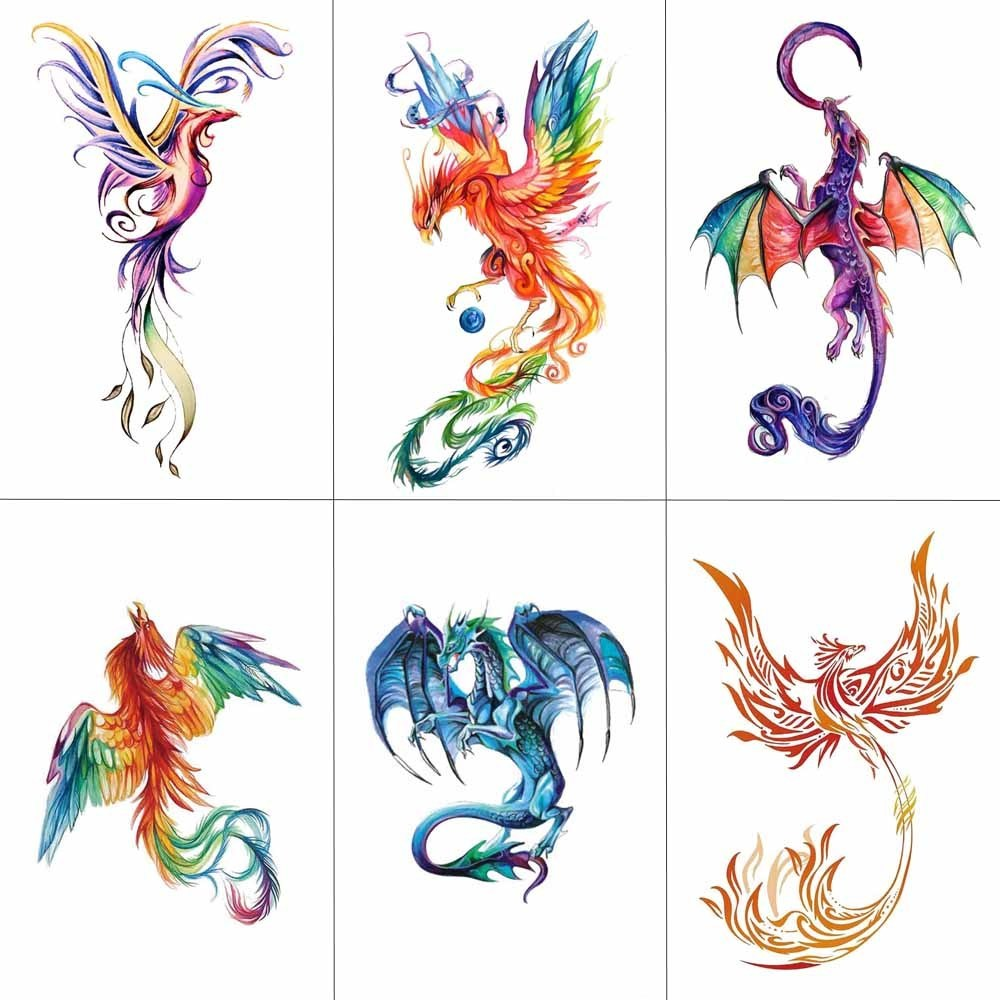 HXMAN Colorful Watercolor Phoenix Dragon Temporary Tattoos For Kids Women Hand Tatoo Sticker Body Art 9.8X6cm A-114