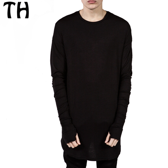 Spring Autumn Solid Men Long Sleeve T Shirts Gloves Sleeve High ...