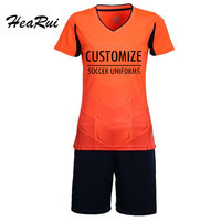 women short sleeve sports training sets football suit DIY team Customized name and number print Breathable girls soccer uniform