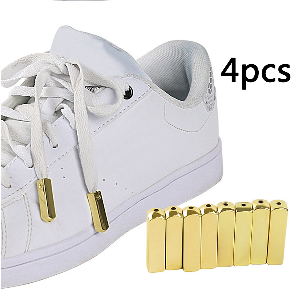 4PCS/Set Metal Aglet Screw On Shoelaces Tips Hoodies Zinc Alloy Polished For Sneakers Jackets Replacement Mirror Gold Decorative